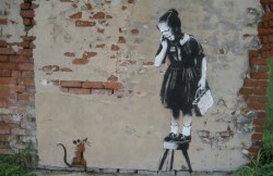 Banksy Rat Girl Postcard