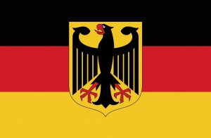 German Flag and Coat of Arms Postcard