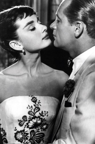 Studio publicity portrait for film Sabrina with William Holden and Audrey Hepburn