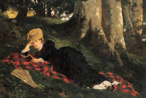 Woman Reading in a Forest by Gyula Benczúr Postcard